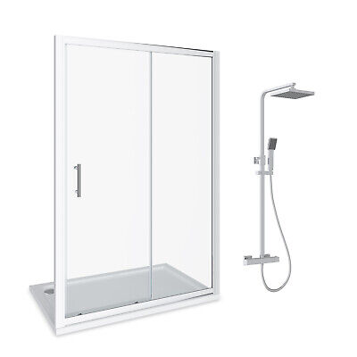 Complete Bathroom Suite Sliding Shower Enclosure With Tray & Shower Mixer
