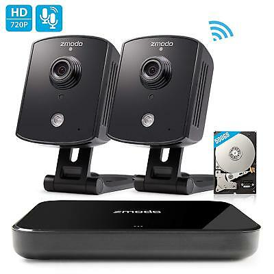 Zmodo 1080p 4CH NVR 2 Indoor Audio Wireless Camera Home Security System 500GB HD