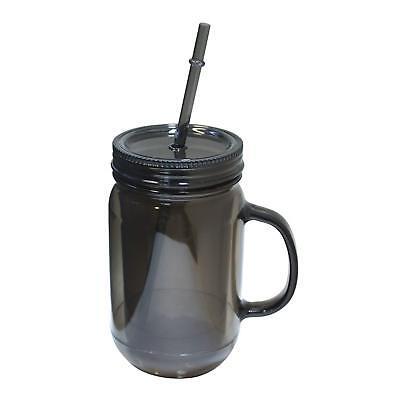 Ergohub 20 Oz Mason Jar Doubled wall Acrylic Cup with Straw Tumbler Mug w Handle (Straw Jar)