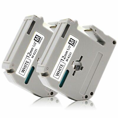 2-pkpack Label Tape For Brother P-touch Eqv M231 M-k231 Mk231 12mm Blackwhite