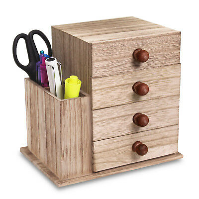 Wood Office Supplies Storage Cabinet with 4 Drawers & a Side Compartment Desktop Organizer 4 Compartment Wood