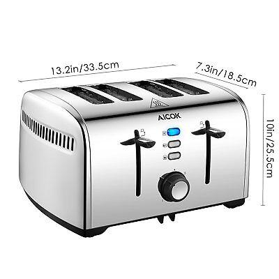 Toaster, Edelstahl Toaster mit Abnehmbarer Krümelschublade (1700 Watt)