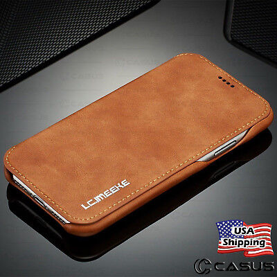 For Galaxy Note 10/9/8 S10/S9 Plus Leather Wallet Stand Thin Slim Case Cover
