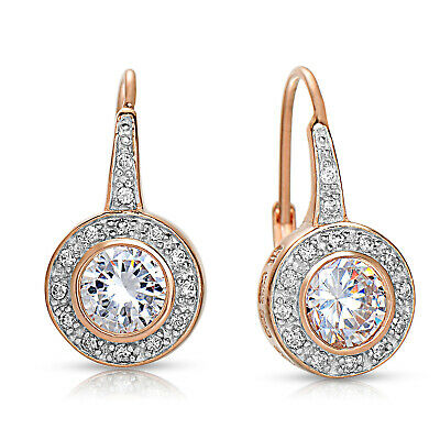 Rozzato .925 Silver 18K Rose Gold Plated Clear CZ Halo Bezel Leverback -