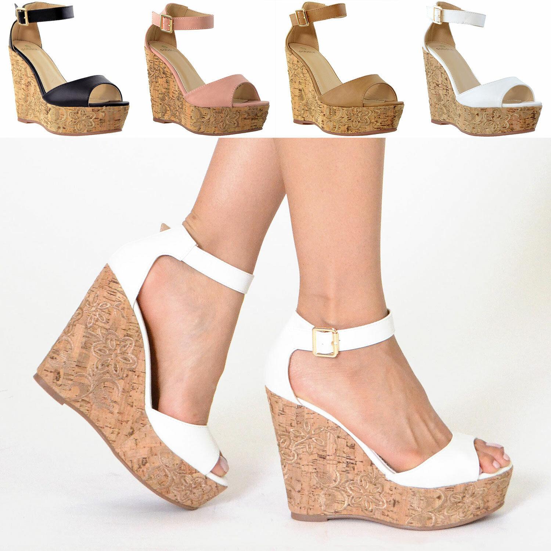 Womens Platform Sandals Ankle Strap Embroidered  Cork Heel W