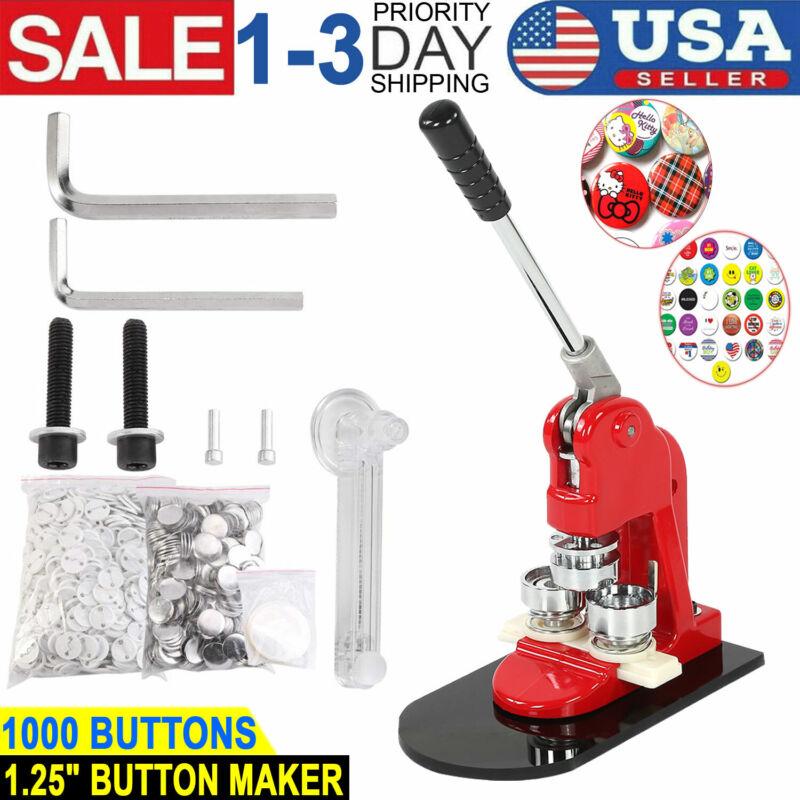 "1.25"" Button Maker Punch Press Machine 1000 Pin Badge Parts + Circle Cutter USA"