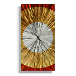 Amber/Copper/Silver Wall Clock - Contemporary Metal Wall Art Decor by Jon Allen