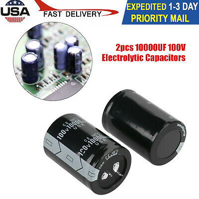 2 Pcs 10000uf100v Electrolytic Capacitor High 3.5 X 5cm New