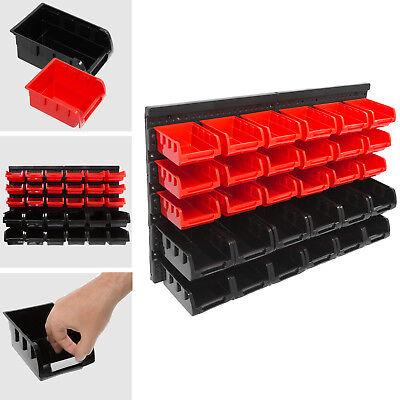 Stapelboxen Wandregal 32tlg Box Sichtlagerkästen Schüttenregal Lagersystem NEU