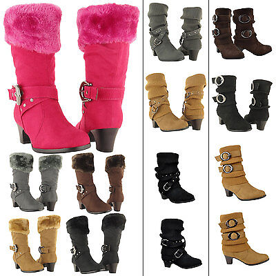 Girls Mid Calf High Heel Kids Boots Faux Fur Collar Suede shoes Size 9-4](High Heel Shoes Kids)