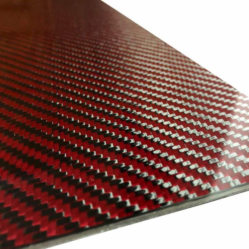 (2) Red Carbon Fiber Plate - 200mm x 300mm x 2mm Thick - 100% -3K Tow, Plain...