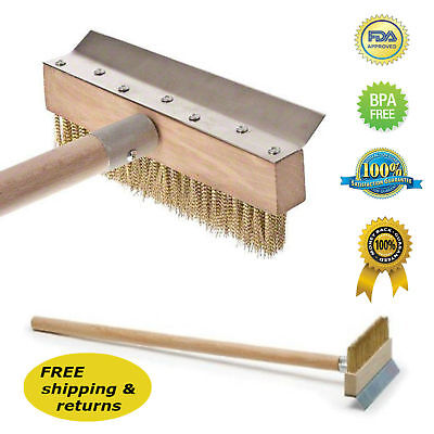 39 Pizza Oven Brush Wood Handle Metal Bristles And Scraper Professional Quality