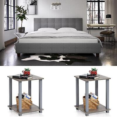 3 Piece Bedroom Set Furniture King Size Bed Headboard Modern 2 Nightstands Gray ()
