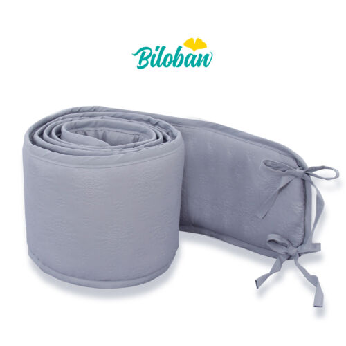 """Breathable Mini Crib Bumpers Padded  for Baby Crib 1-Piece Safe 38""""x24"""" Gray"""