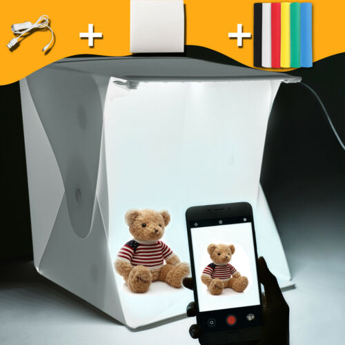 Mini Portable Lighting Room Photography Box Light LED Photo Tent Kit 6 Backdrops
