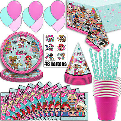 LOL Surprise Party Supplies, Serves 16 - Plates, Napkins, Tablecloth and More - 16 Party