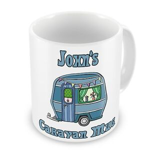 Personalised Caravan Novelty Gift Mug (Blue)