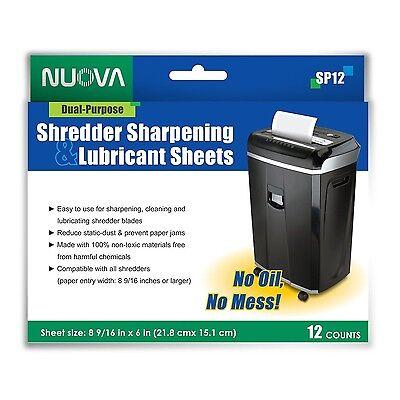 Nuova paper shredder sharpening lubricanting sheets