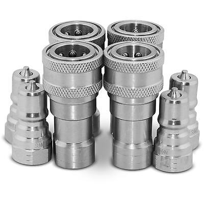 4 Sets Of 14 Npt Iso 7241-b Quick Disconnect Hydraulic Couplings Couplers