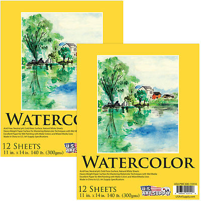 """11"""" x 14"""" Watercolor Painting Paper Pad, 140lb 12-Sheets - Pack of 2"""