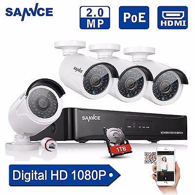 4CH 1080P PoE Überwachungskamera SET AHD 1TB Netzwerk Außen NVR Videoüberwachung