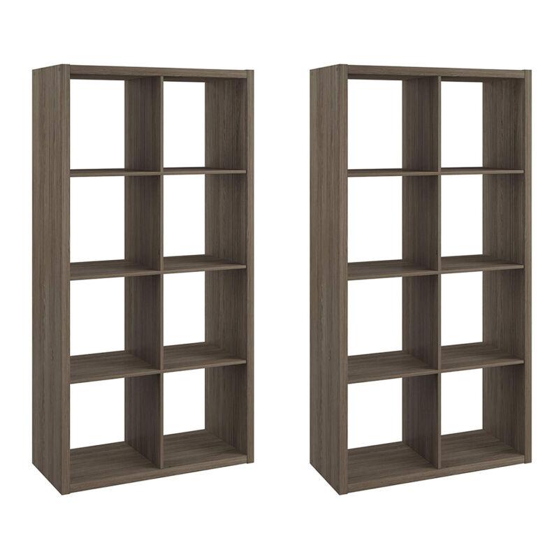 ClosetMaid Bookcase Open Back 8-Cube Storage Organizer, Graphite Gray (2 Pack)