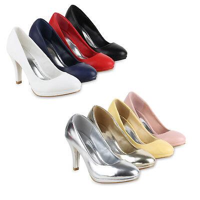 Klassische Damen Pumps Stiletto High Heels Leder-Optik 820571 Schuhe High Stiletto Heel