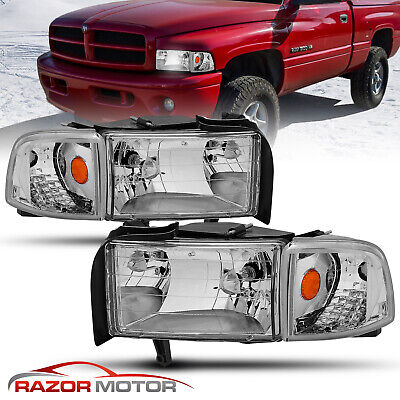 94-01 Dodge Ram Clear Replacement Headlight w/Bulb Corner Signal Lamp Set