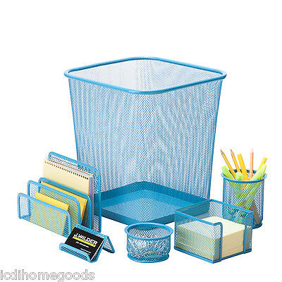 6 Pc Steel Mesh Desk Set Ofc-04881 In Blue