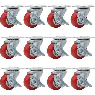 Lot Of 12 1.5 Low Profile Caster Wheels Rubber Swivel Caster W Side Brake Red