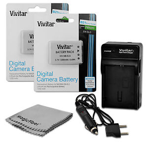2 Pcs EN-EL5 Battery + Charger for Nikon Coolpix P80 P90 P100 P500 P510 P520