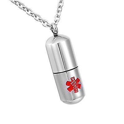 Medizinische Zylinder (Vincenza Personalisiert Andenken Schmuck Edelstahl Zylinder Medizinische Warnung)