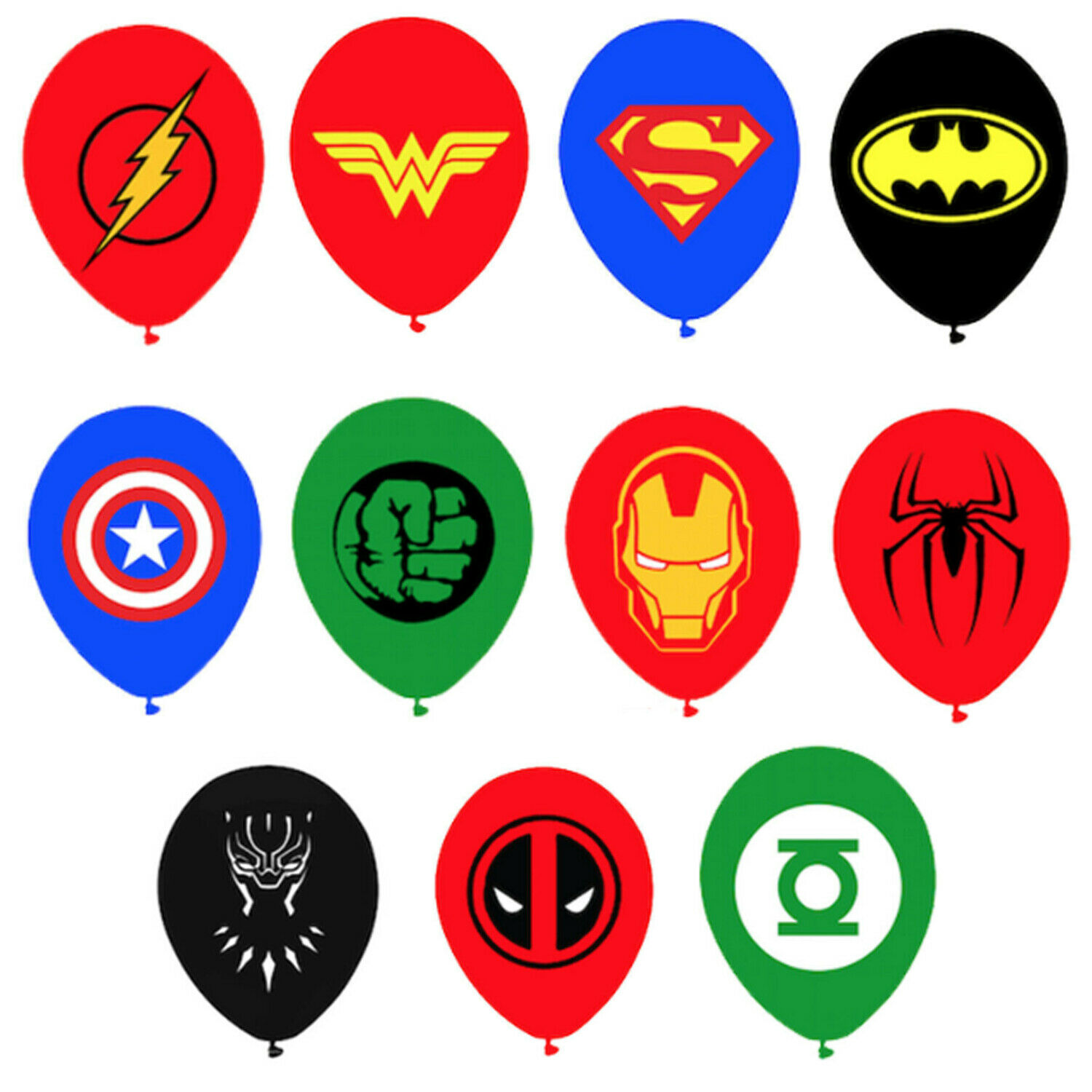 12 Superhero Latex Balloons for Kids Boys & Girls Hero Birth