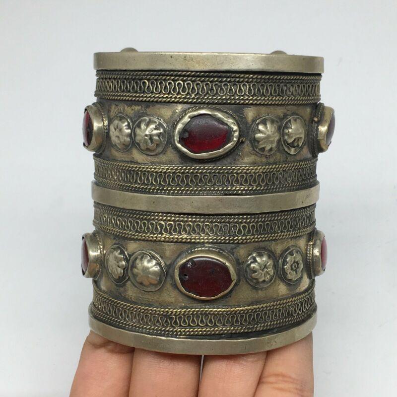 108.5g, Turkmen Bracelet Cuff Old Vintage Tribal Carnelian Inlay,Statement TN513