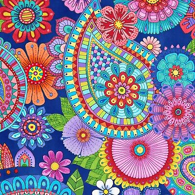 Fabric Flowers Paisley Live Out Loud Blue Wilmington Cotton 1/4 Yard 434