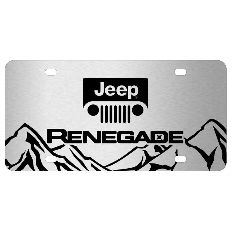 Jeep Renegade Rock Mountain Graphic Brush Aluminum License Plate