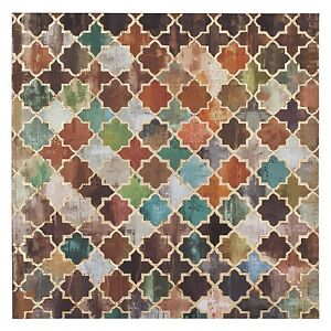 Moroccan Tile Canvas Gold Foil Foiled Picture Wall Art Hanging 90cm