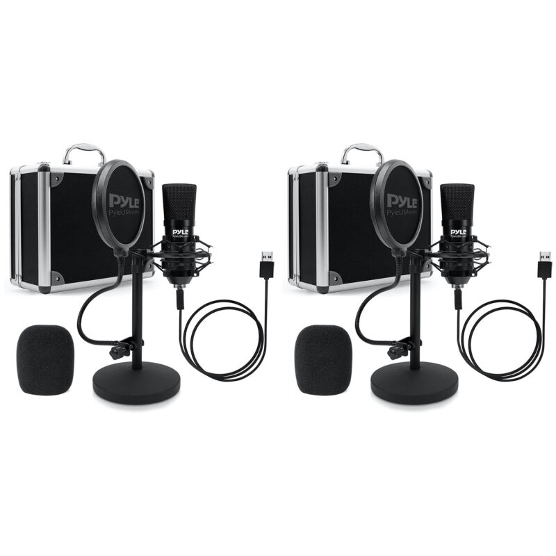 Pyle PDMIKT120 Pro Audio Recording Computer Microphone Kit with Case (2 Pack)