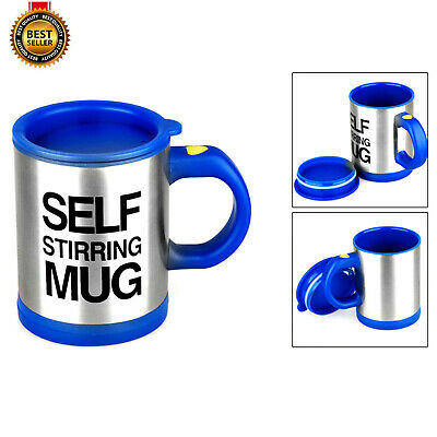Blue Self Stirring Mug Coffee Cup Tea Auto Mixer Drink Insulate Stainless 400ml