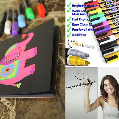 Professional Artist Quality Fine Tip Crafty Croc Liquid Chalk Markers 12 Colors