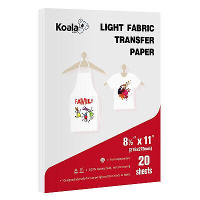 Printable Light Cotton Fabric Heat Transfer Vinyl Paper 8.5x11 Inkjet Iron On