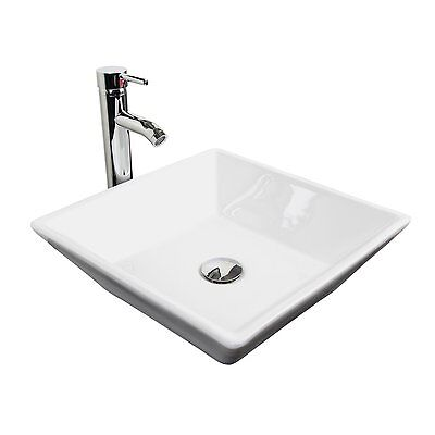 Bathroom Vanity Ceramic Vessel Sink Porcelain Countertop Chrome Faucet Combo