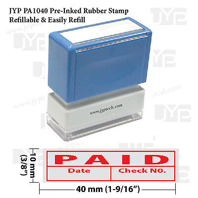 New Jyp Pa1040 Pre-inked Rubber Stamp W. Paid Date Check No. Frame