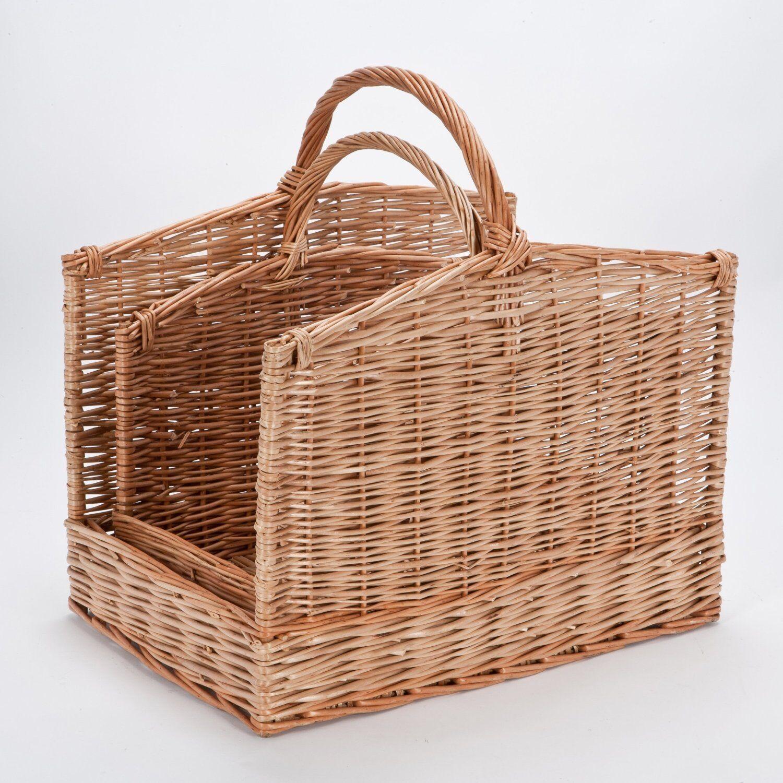 Willow Wicker Storage Basket Hamper Handles Natural Wooden: Kitchen Wicker Basket Fire Wood Log Holder Carrier Laundry