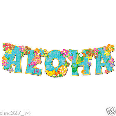 LUAU Tropical Beach Hawaiian Party Decoration ALOHA JOINTED STREAMER BANNER 33in](Aloha Decorations)