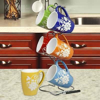 Home Basics 6 Piece 11 Ounce Floral Ceramic Mug Set with Dis