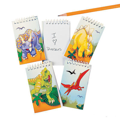 12 Dinosaur Spiral Notepads Mini kids DINO birthday party favors goody bag