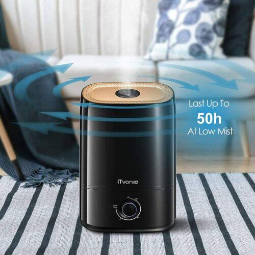 iTvanila Cool Mist Humidifier for Large Room, 5L Ultrasonic HU-C3 Black