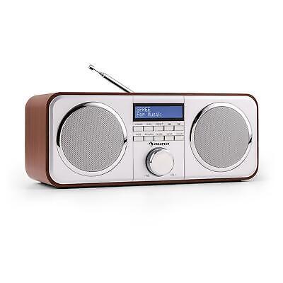 Digitalradio DAB+ Radio Wecker Box Stereo Lautsprecher UKW Tuner AUX Holz