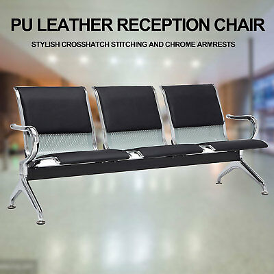 Waiting Room Chair Office Bench 3-seat Salon Airport Reception Pu Leather